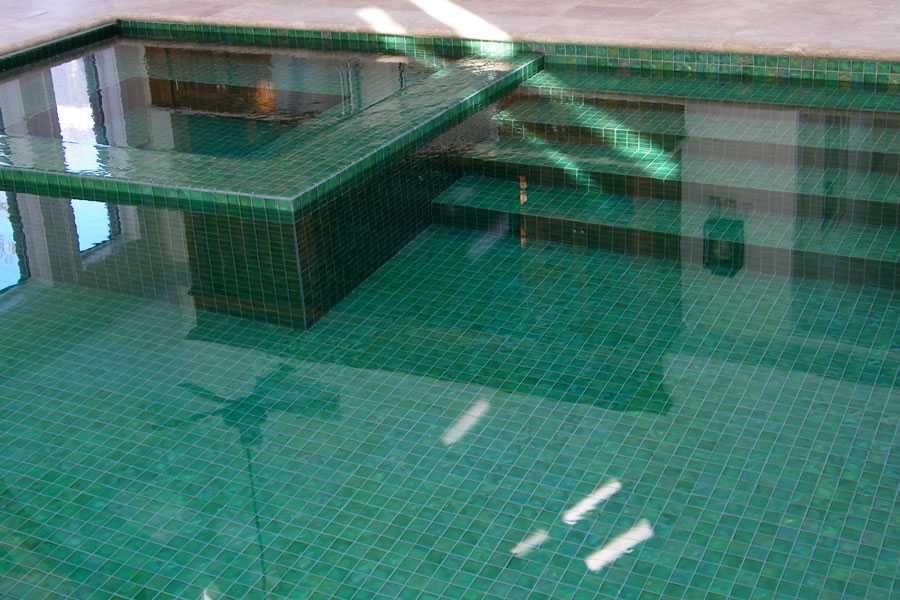 Indoor pool with custom tile residential pool design by for Custom indoor pools