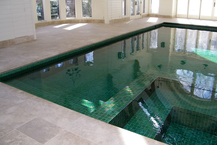 Indoor Pool with Custom Tile Residential Warren Pool Design by Omega ...