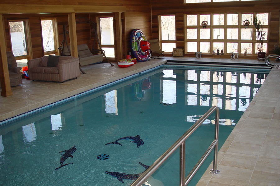 Indoor pool with therapy design colts neck new jersey for Pool design inc