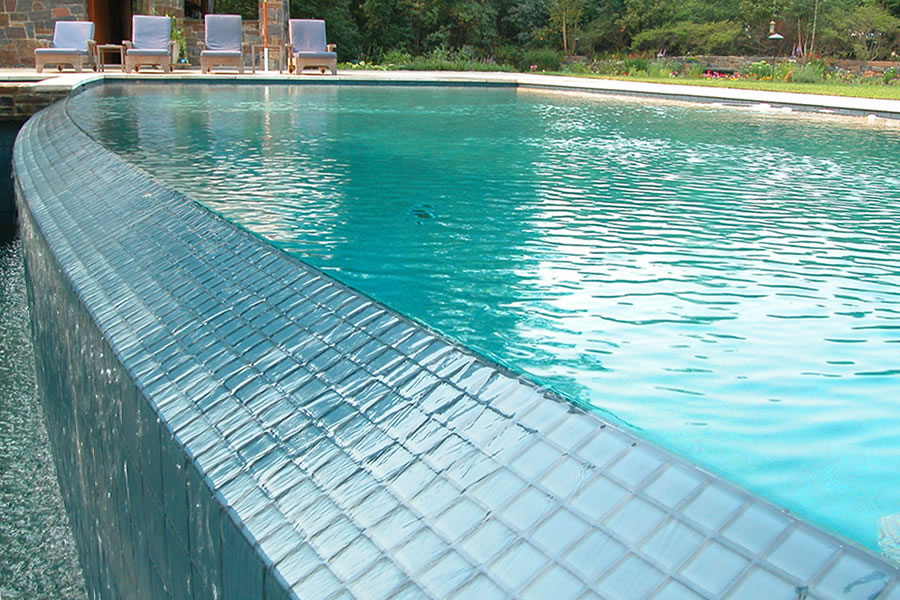Elegant Vanishing Edge Outdoor Pool Brick, New Jersey Residential Pool Design By  Omega Pool Structures, Inc