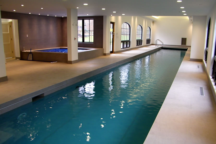 Residential Indoor Lap Pool And Spa With Cover Design By Omega